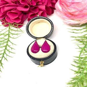 VINTAGE⚜️Fuchsia Painted Teardrop Earrings